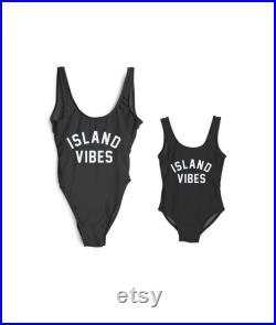 0-5T S-XXL Family Swimsuits Island Vibes Mommy and Me Matching Swimwear One Piece Mother Daughter Monokini Bathing Beach Wear