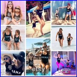 0-5T S-XXL Family Swimsuits Mommy and Me Matching Swimwear One Piece Mother Daughter Monokini Bathing Beach Wear
