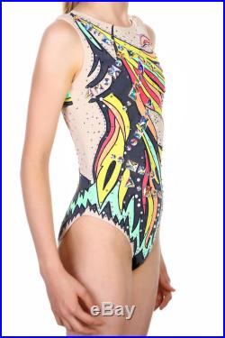 12-13 years girls romantic multi-color swimwear swimming suit leotard for synchronized swimming with rhinestone. Ready to ship