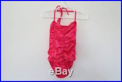 1970s 1980s Toddler Bathing Suit Hot Pink Ruched Halter One-Piece Swimsuit Size 5