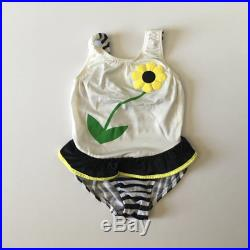1980's Daisy Black and White Stripe Swimsuit (3t 4t)