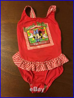 1980's red gingham sweet valley minnie mouse swimsuit size 6