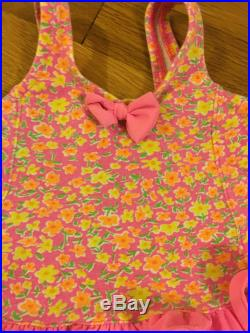 1990's health-tex neon floral bikini with bow and peplum size 18 months 2t