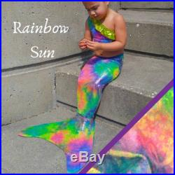 1 day FREE SHIP Rainbow Sunshine Swimmable Mermaid Tail and Top