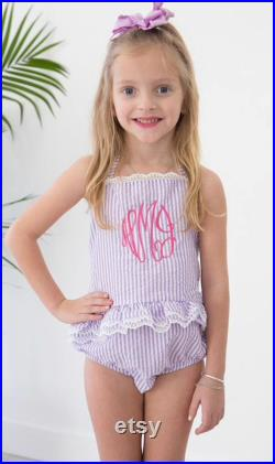 2018 Kids Seersucker Monogrammed Swimsuits One Piece with LACE by Happy Crab Boutique