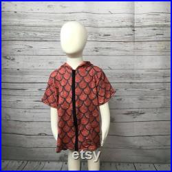 2T-3T Dragon Scale Scale French Terry Coverup, Dragon Print Zip Up Coverup, Toddler Beachwear, 2T Beach Coverup, 3T Beach Coverup