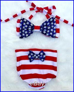 4th of july Memorial Day patriotic baby girls bikini bottom with sequin bow