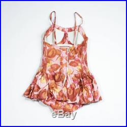50's cotton swimsuit with floral pattern