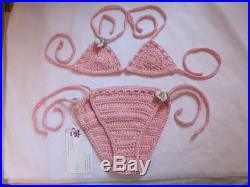 Adorable Toddler Crochet Bikini Baby Pink Cotton Toddler size 3T Tie Sides White flowers Shower Gift Present