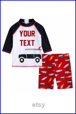 BOYS Personalized Swimsuit Set Personalized Rash Guard andBoard Short Kids Swimwear Custom Text Swim Suit Surf Board and Car Graphic Swimsuit