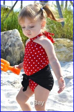 Baby Bathing Suit Black with Red and White Polka Dots Wrap Around Swimsuit Girls, Newborn, Infant, Toddler One Size Tie On Swimwear hisOpal