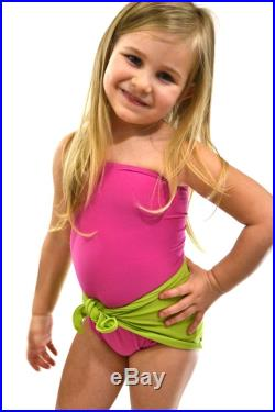 Baby Bathing Suit Pink and Lime Green Wrap Around Swimsuit Tie On Swimwear to fit Newborn Girls to Toddler 3