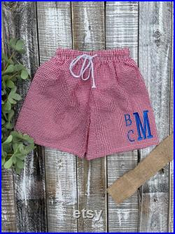 Baby Boy Seersucker Gingham Trunks with Stacked Monogram, Spring, Summer, Personalized Baby Gift, Monogram Baby Gift