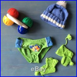 Baby Boy Swim Pants with Winnie The Pooh 0-3 months, Vintage Baby Boy Summer Clothes, Scandinavian 90s Green Newborn Bathing Clothes