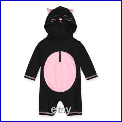 Baby Duckling and Kitten Hoodie UV Swimsuit, Toddler 3 4 sleeve Swimsuit for Newborn to age 2, Toddler Sun Protection Rash Guard Swimsuit