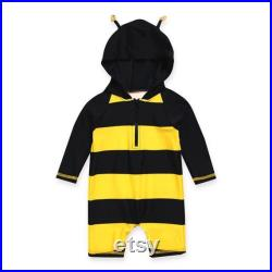 Baby Penguin and Honey Bee Hoodie UV Swimsuit, Toddler 3 4 sleeve Swimsuit for Newborn to age 2, Toddler Sun Protection Rash Guard Swimsuit