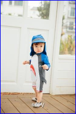 Baby Shark Hoodie UV Swimsuit, Jaw White 3 4 sleeve Swimsuit for Newborn to age 2, Toddler Sun Protection Rash Guard Swimsuit
