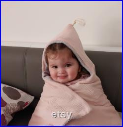 Bath poncho for newborns,babies and children bath towel with bobble-with name hooded towel from muslin and terry 0-18 months and 2-6 years