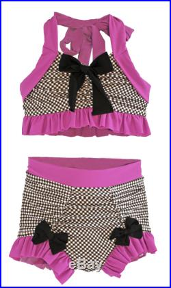 Bathing Beauty Bikini in Black Gingham and Magenta SS16 Collection (Size 4-12) Markdown