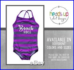 Beach Vibes Swimsuit Toddler Girl Summer Vacation Swim Suit Girl Popular Beach Pool Party Swimwear Cute Girls Bathing Suit Bday Gift Cruise