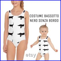 Black dachsh bottoms or fuchsia sea costume for girl from 2 to 7 years old-version with or without black border