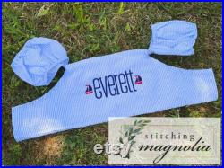 Blue Seersucker Puddle Jumper Cover- Embroidered Name with Sailboat Mini Embroidery