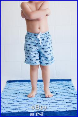 Boy Blue Finn Fish Swim Suit Trunks Can Be Monogrammed Sizes 2-6X Great Easter Basket Birthday Gift
