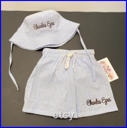 Boy's Swimsuit and Bucket Hat Set Boy's Sunhat and swimsuit Seersucker swim trunks and hat combo Baby Sunhat and Shorts Boys Swim