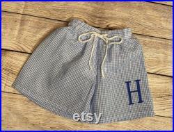 Boys Blue Gingham Personalized Monogrammed Swimwear Swimming Trunks