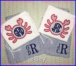Boys Crab Monogram Applique Shirt SET withNavy Seersucker Swim Shorts.(As shown in first picture above). Swim shorts trunks are fully Lined.