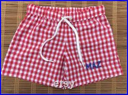 Boys Monogram Swim Trunks for Beach, Monogrammed gingham seersucker shorts as gift for kids, Personalized baby and toddlers bathing suit