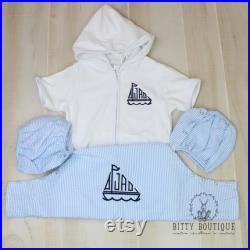 Boys Sailboat Monogrammed Cover Up