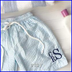 Boys Stacked Monogram Seersucker Swim Trunks PreOrder, Claim before they sell out