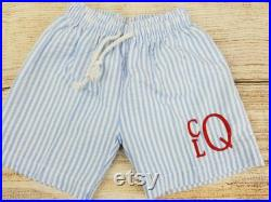 Boys Swim Trunks, Swimsuit and Cover-up Set, Blue or Red, Personalized Embroidery