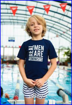 Boys blue Swim shirt with Real men are feminists print