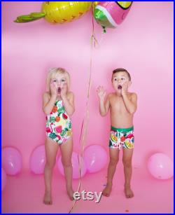 Brother and Sister matching swimsuits, boy and girl matching swimwear, siblings matching swimsuits, matching bathing suits, tutti frutti