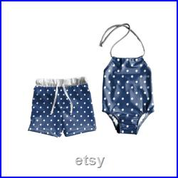 Brother and Sister matching swimsuits, pool party matching outfits, siblings matching swimsuits, blue polka dot swimsuits