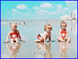 Brother and Sister matching swimsuits, pool party matching outfits, siblings matching swimsuits, red lifeguard baewatch swimsuit