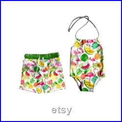 Brother and Sister matching swimsuits, pool party matching outfits, siblings matching swimsuits, tutti frutti swimsuits