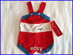 Buster Brown 70s Pacific Swimwear Beach Clothing for Babies Baby 6-9 Months Red Blue White One Piece Jumper Unisex Forth of July