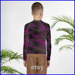 CAMOUFLAGE RASH GUARD Youth Rash Guard Kids Clothing Swimwear Surf Top Long Sleeve Top for Kids Pre-Teens Athletic Clothing Boys and Girls