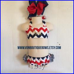 Chevron Red White Blue 4th of July Summer Gold Ruffled Halter Swimsuit Bikini Personalized Monogrammed Baby Toddler Youth vonBoutiqueBows