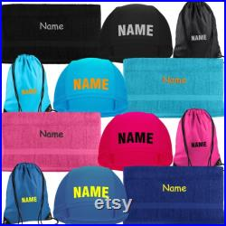 Children's Bathing Caps Set with Name Bath Cap Gym Bag Towel Gift for School Beginning Swimming Lessons