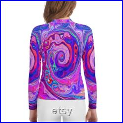 Colorful Rash Guard, Shirt for Teens and Tweens, Retro Purple and Orange Abstract Groovy Swirl, Printed T-Shirt with Long Sleeves for Girls