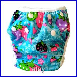 Colourful Strawberry Print Baby Swim Nappy, Newborn to Toddler Swim Diaper, 0-15kg Washable Swim Pant, 0-18 months Swimming Pants for Pool