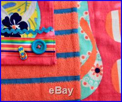 Coral and periwinkle striped flip flop towel dress
