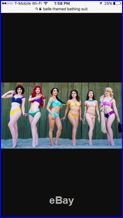 Custom order Heather two mommy and me matching bathing suits belle disney princess mermaid