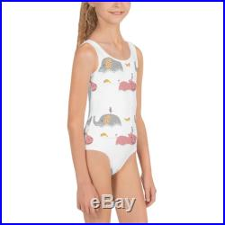 Cute Elephants and Hippos Kids Swimsuit Cute Girls Swimsuit One Piece Swimsuit Girl Swimsuit Kids Bathing Suit