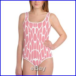 Cute Pink Giraffe Skin Pattern Beach Vacation Youth Bathing-suit All-Over Print One-piece Swimsuit