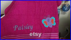 Cute colorful whimsical kids appliqued personalized beach towel